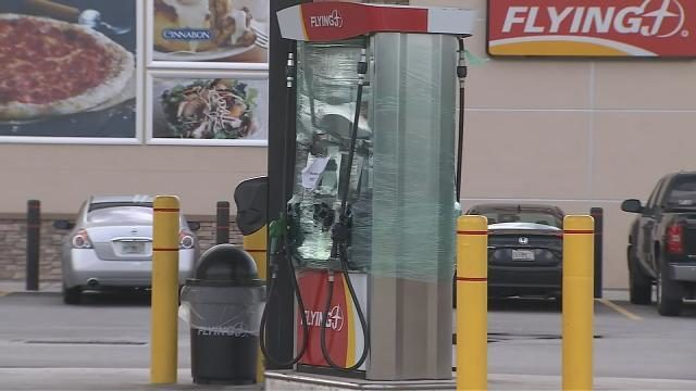 Brevard County gas station wraps gas pumps in plastic wrap