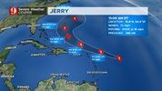 Jerry strengthens to a hurricane